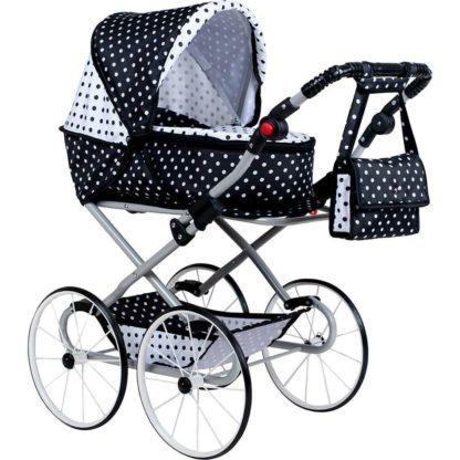 - Kočárek pro panenky NEW BABY Retro 2v1 Natálka bílo-černý -
