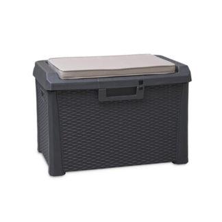 - Santorini Zahradní úložný box s polstrem - malý - barva antracit - 8009371017022