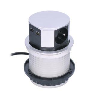 Solight - Solight Výsuvný prodlužovací blok se 3 zásuvkami a 2x USB